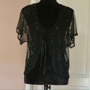 See Through with sequined short sleeve shrug